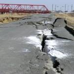 江合川の堤防の亀裂